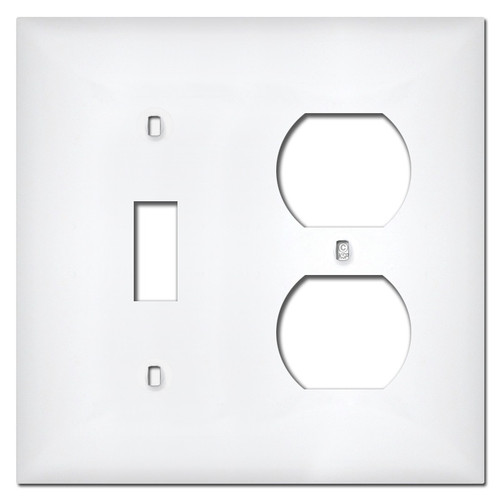 White Plastic Single Toggle Single Outlet Wall Plate Covers