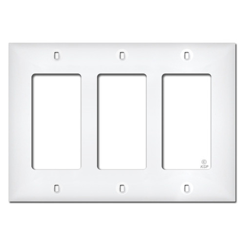 White Plastic 3 Gang Decora Switch Plate Covers