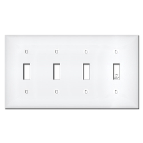 White Plastic 4 Gang Toggle Switch Plate Covers