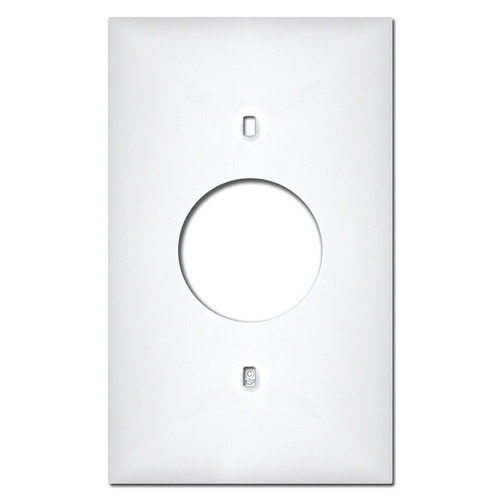 White Plastic 1 Round Outlet Cover Plates