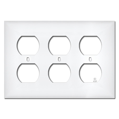 White Plastic 3 Gang Outlet Cover Plates