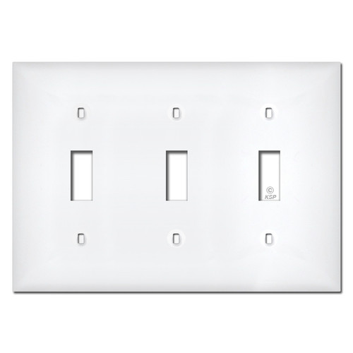 White Plastic 3 Toggle Wall Switch Plate