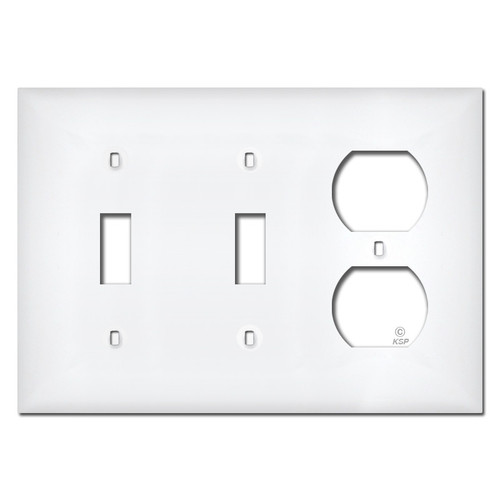 White Plastic 2 Toggle 2 Outlet Wall Plate