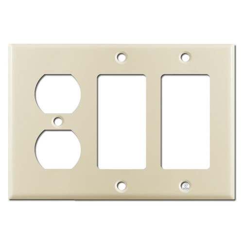 1 Duplex Outlet & 2 GFCI Decora Rocker Combo Switch Plates - Ivory