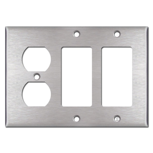 1 Duplex Outlet & 2 Rocker Light Switch Cover - Stainless Steel