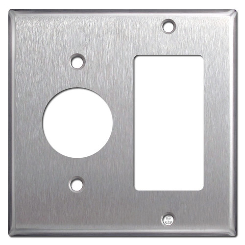 """1 Rocker 1.4"""" Single Outlet Cover Switch Plate - 430 Stainless Steel"""