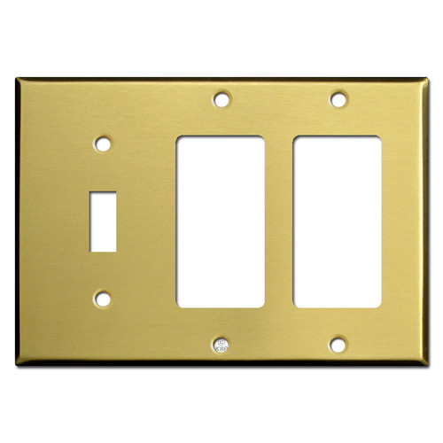 1 Toggle 2 Decora Light Switch Cover - Satin Brass
