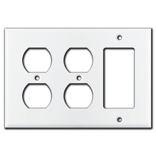 2 Duplex Outlet 1 Rocker Light Switch Covers - White