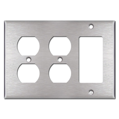 1 Rocker 2 Duplex Outlet Light Switch Plate - Stainless Steel