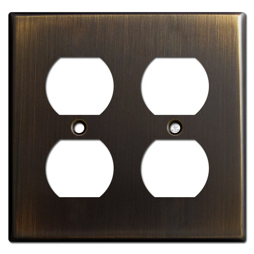 2 Duplex Receptacle Outlet Cover - Oil Rubbed Bronze