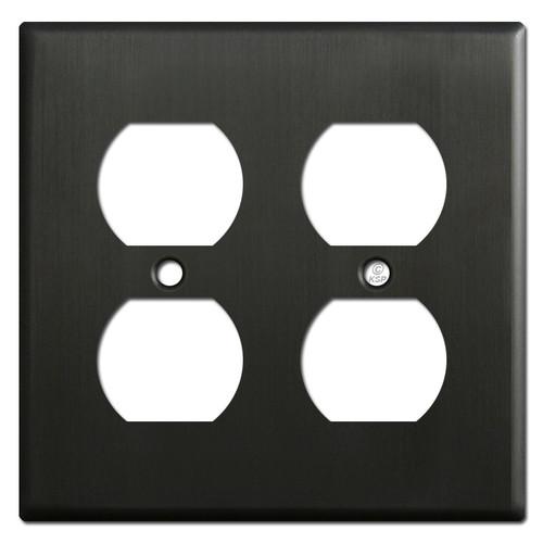 2 Duplex Outlet Receptacle Cover - Dark Bronze
