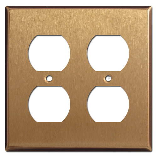 Two Duplex Outlet Receptacle Plate - Satin Bronze