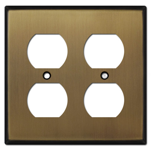 Double Duplex Outlet Cover - Antique Brass