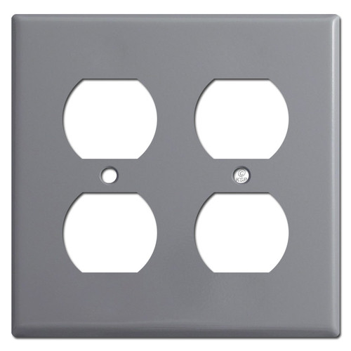 2 Duplex Outlet Cover Wallplate - Gray