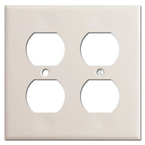 2 Gang Duplex Outlet Receptacle Cover - Light Almond