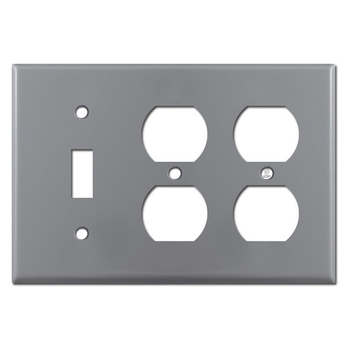 2 Outlet 1 Toggle Light Switchplate Cover - Grey