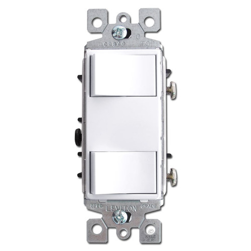 White Leviton Dual Decora Rocker Switch