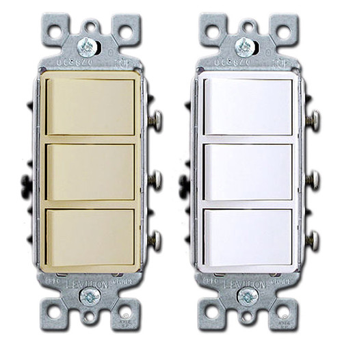 3 Stacked Single Pole Leviton Decora Rocker Switches