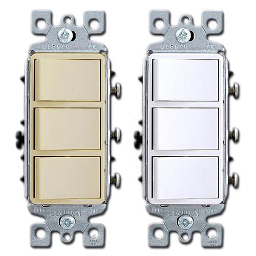3 Stacked Single Pole Leviton Decora Rocker Switches