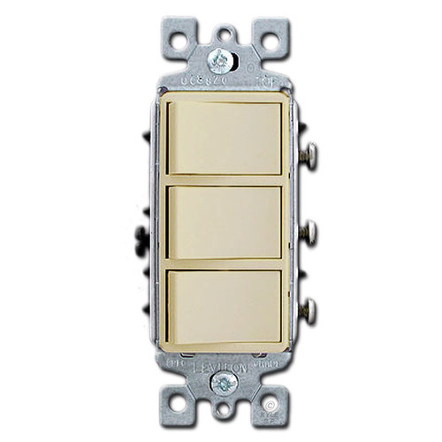 Ivory Combo Three Decora Rocker Light Switches