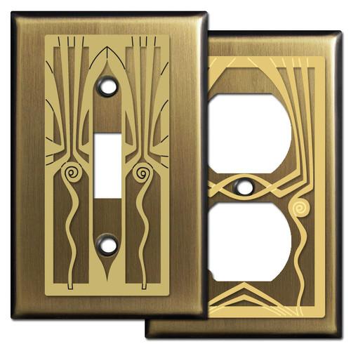 Antique Brass Retro Art Deco Decorative Switch Plates