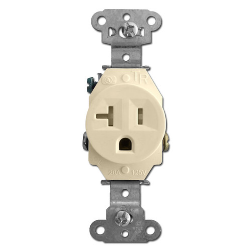 Tamper Resistant Ivory Round 20A Single Power Outlets
