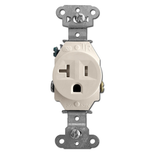 Tamper Resistant Round 20 Amp Single Power Receptacles - Light Almond