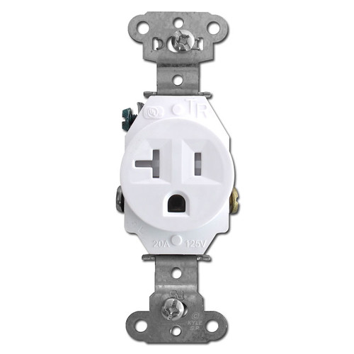 Pass & Seymour White Tamper Resistant Round 20 Amp Single Power Outlet