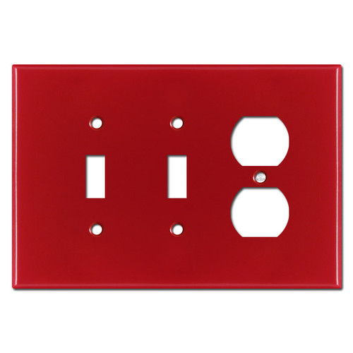 Oversized Double Toggle Single Receptacle Wall Plate - Red