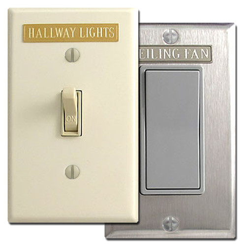 Identify your light switches on wall plates with engraved tags