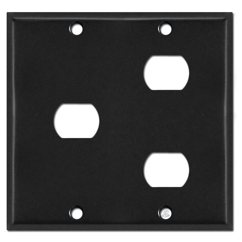 Two Gang 3 Despard Light Switch Plate Covers - Black