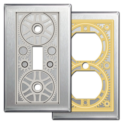 Stainless Steel Industrial Steampunk Gears Light Switch Wall Plates