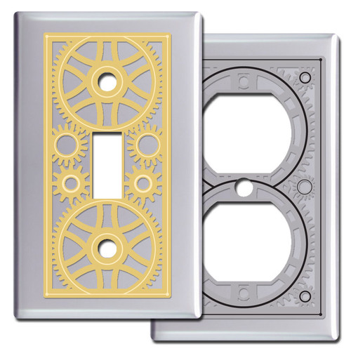 Polished Chrome Steampunk Hardware Light Switch Covers