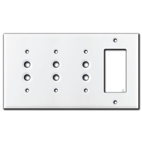 White 3 Pushbutton and 1 GFCI Decora Rocker Light Switch Plate