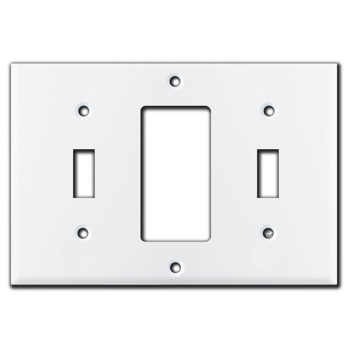 White 1 Toggle 1 Decora Rocker 1 Toggle Combo Light Switch Plate Cover