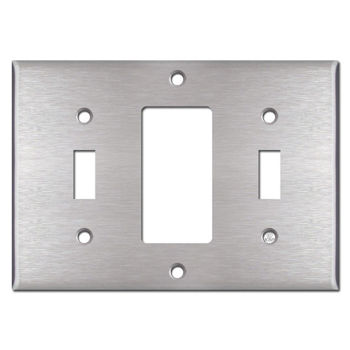 Toggle Decora Toggle Triple Wall Switch Plate Cover - Stainless Steel