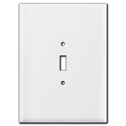 "White Biggest 1 Toggle Switch Plate Cover in 7.5"" Tall Jumbo Size"