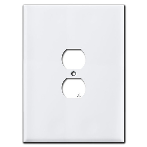 """White Biggest Oversized Outlet Receptacle Cover in 7.5"""" Tall Size"""