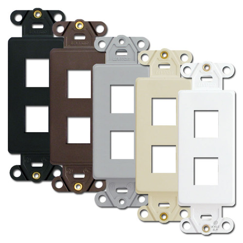 2-Port Leviton QuickPort Modular Jack Adapter Frames