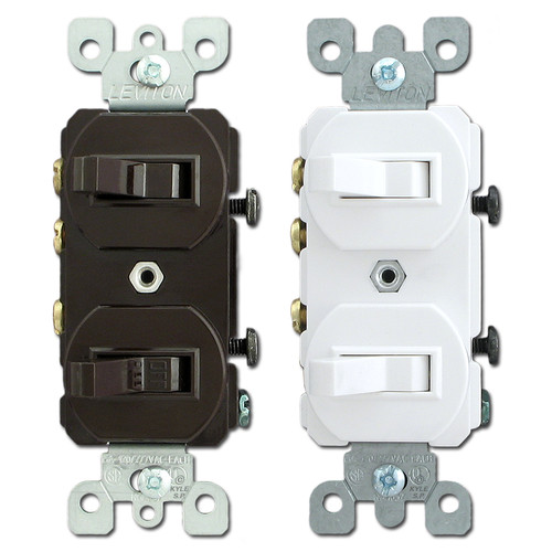 Leviton Stacked Single Pole & 3-Way Horizontal Toggle Switches