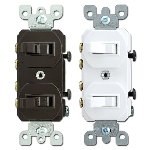 Leviton Duplex Stacked 3-Way Horizontal Toggle Light Switches