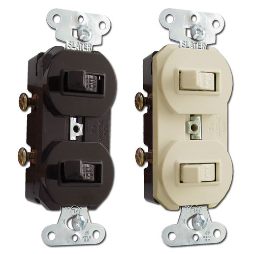 Pass & Seymour Duplex Horizontal Dual Toggle Switches