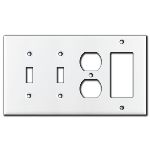2 Toggle 1 Outlet 1 GFI Decora Rocker Switch Wall Plate - White