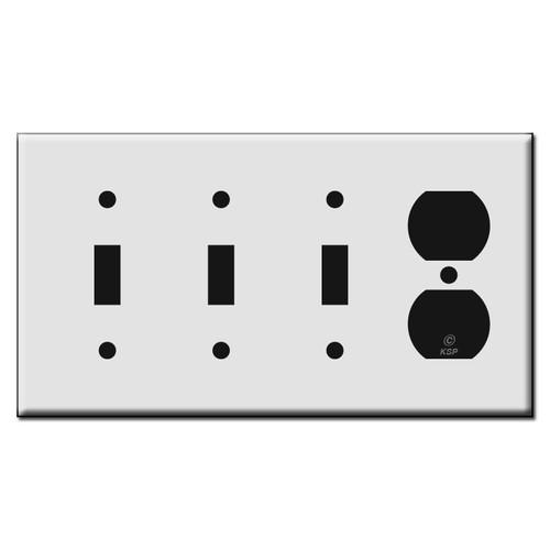 Single Duplex Receptacle / Triple Toggle Plastic Switch Wall Plates