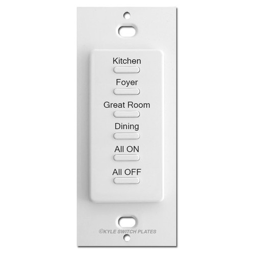 Engraved 6-Button Touch Plate Ultra Low Voltage Switch Controls