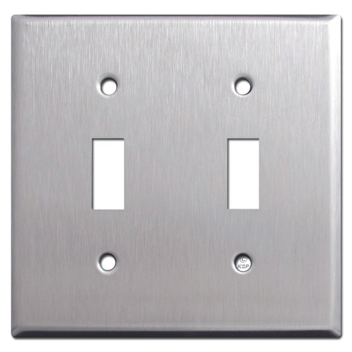 Stainless Steel Double Toggle 2 Gang Switch Plate