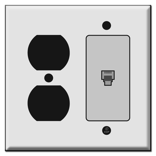Combo Outlet & Phone Jack Cover Plates