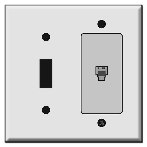 Toggle Switch and Phone Outlet Combo Cover Plates