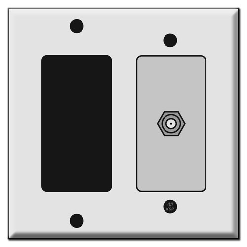 Rocker GFCI Switch and Cable Jack Cover Plates