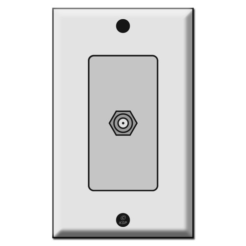 """Cable Outlet Cover with """"F"""" Connector Coaxial Jack Insert"""